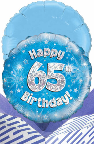 Personalised Message! 65th Birthday Blue Balloon in a Box Gift Delivered