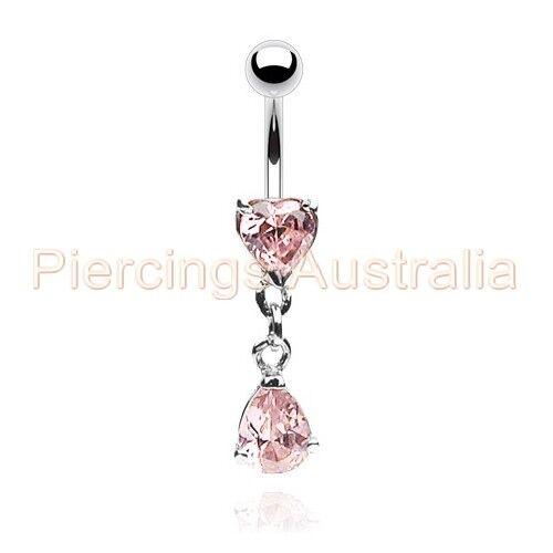 CZ Love Heart Teardrop Belly Bar Navel Ring Dangle Body Piercing Jewellery