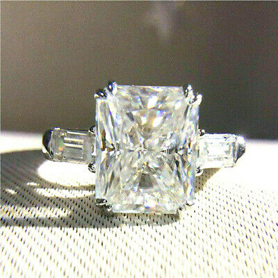 3.00Ct Round Cut Moissanite Diamond 3 Stone Engagement Ring 925 Sterling Silver