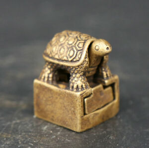 25MM China Fengshui Bronze Animal Tortoise Lucky Turtle Small Seal Signet Statue