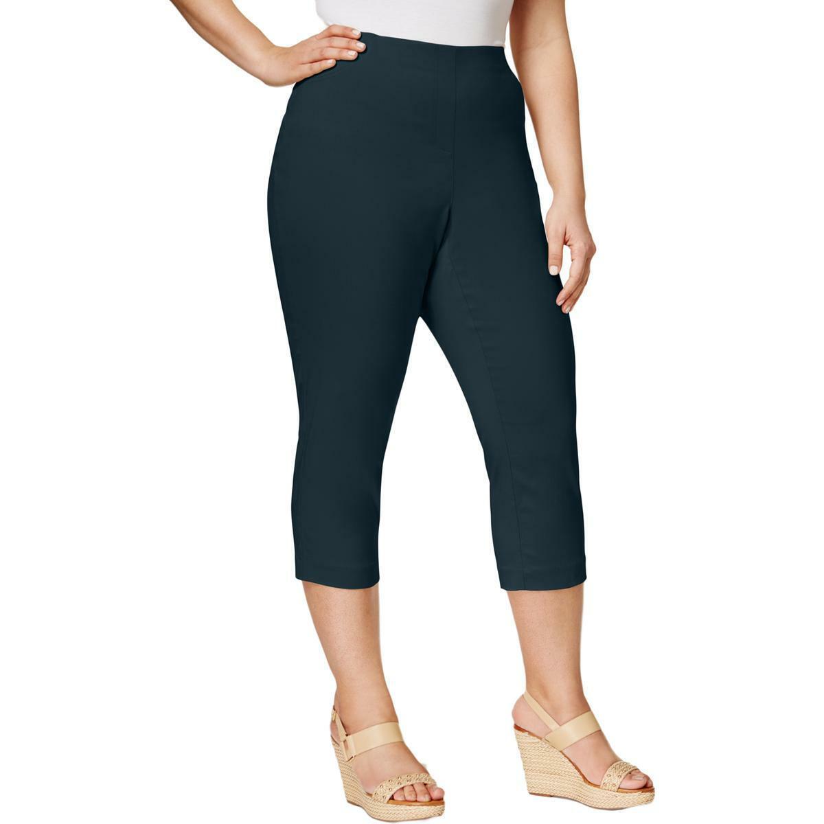 Style /& Co Womens Comfort Waist Cropped Mid-Rise Capri Pants Plus BHFO 0086