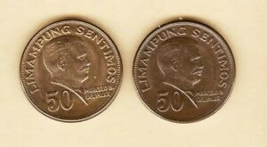 Philippines-50-centavos-Marcelo-Del-Pilar-1971-2-coins-Uncirculated-Toned