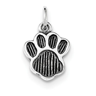 925 Sterling Silver Polished and Antiqued Paw Flat-back Textured Charm Pendant