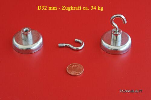Neodym Flachtopfmagnet mit Haken 20 x 16mm 9 kg Topfmagnet starke Loch Magnete