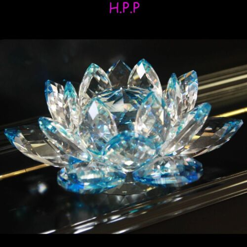 Blue Color 3/'/'Delicate Home//Office//Table Top Decorative Crystal Lotus Flower