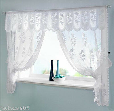 "WHITE VOILE NET JACQUARD LACE SCALLOPED CURTAINS DRAPES SET + PELMET 100"" X 54"""
