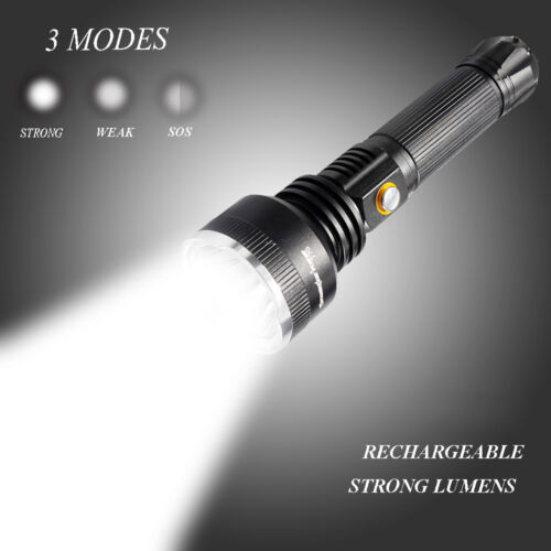 Powerful Flashlight Tactical Hiking Torch 50000 Lumens Rechargeable T6 LED Torch