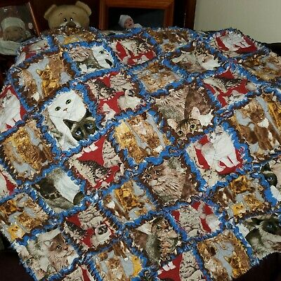Royal Blue And Chocolate Brown Real Cats Rag Quilt Ebay
