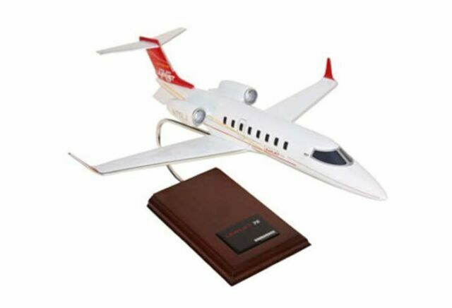 """Airplane LEARJET 75 Business Class Jet New Red Livery  20/"""" Wood Model Aircraft"""