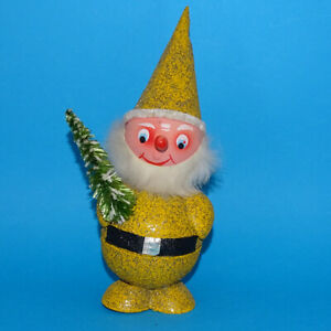 Vintage-GOLD-Santa-Claus-Elf-Bobble-Head-Nodder-West-Germany-Candy-Container