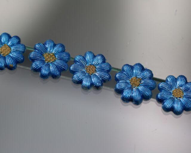 Wunderschön bemaltes Blütenknopf-Set - Vergißmeinnicht - (wohl ab 2010)
