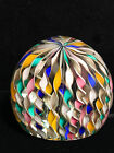 Authentic Vintage MURANO ITALIAN ART GLASS Zanfirico Latticino Swirl PAPERWEIGHT