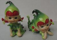 """Lefton's Elves, Christmas Girls Pixie Or Elves Red Hair, 3"""" & 4.25"""" Tall Vintage"""