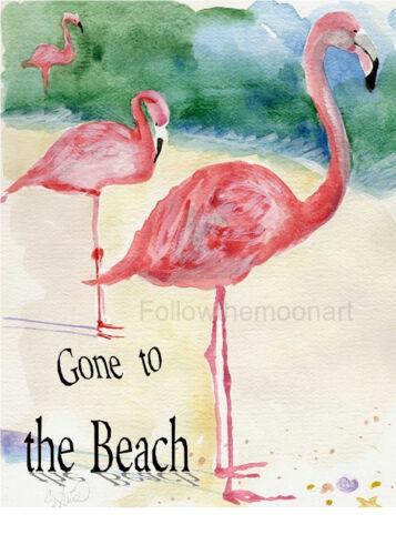 3 Pink Flamingos Gone to the Beach Nautical Ocean Sea Wall Art