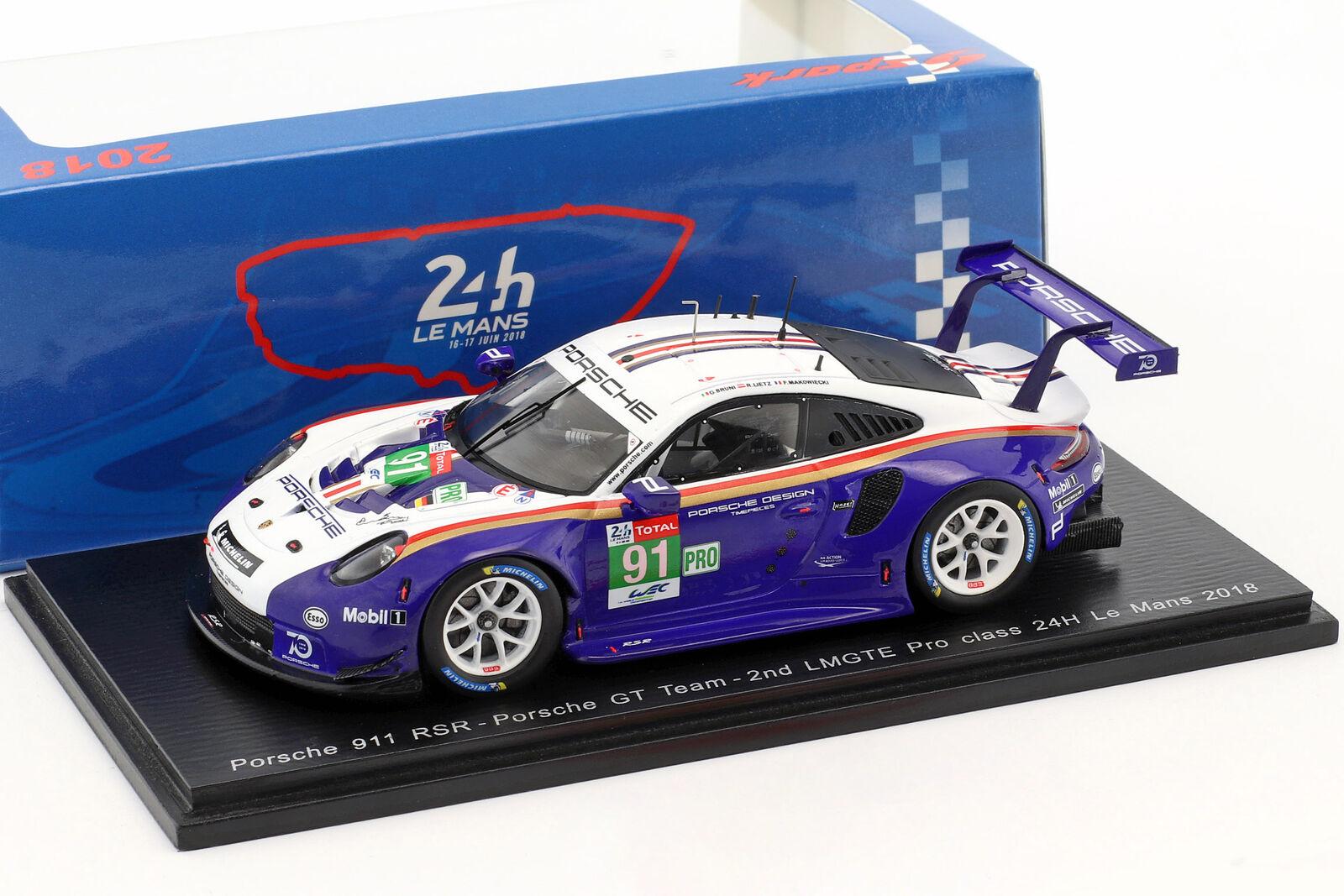 Porsche 911 (991) GT3 RSR   91 2nd LMGTE PRO CLASS 24h LEhommeS 2018 1 43 Spark  100% garantie d'ajustement