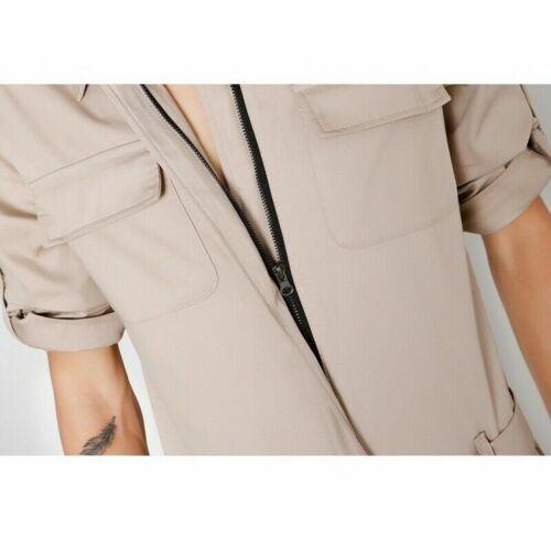 Herren Einteilig Langärmliges Kleid Reißverschluss Overall Latzhose