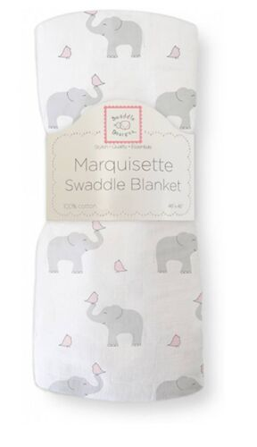 SwaddleDesigns ELEPHANT and /& CHICKIES Marquisette Swaddle Blanket softer muslin