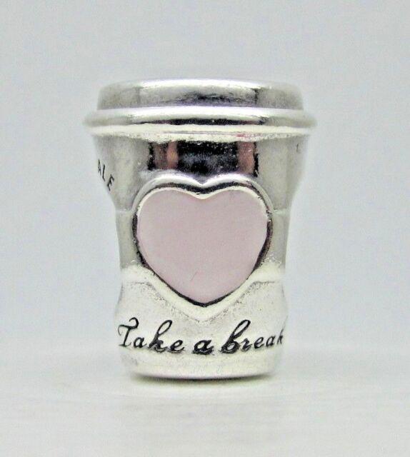 2111e14a4 PANDORA 925 Coffee Drink to Go Cup Pink Heart Charm Pendant 797185EN160