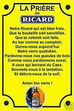 RÉPLIQUE PLAQUE PRIERE PASTIS RICARD CASANIS ALU 20X30
