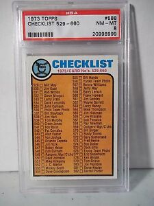 1973-Topps-Checklist-529-660-PSA-Graded-NM-MT-8-Baseball-Card-588-MLB