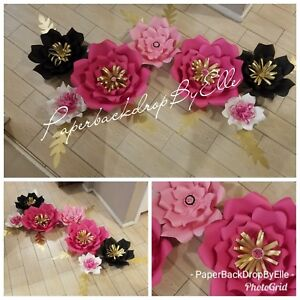 Details About 7 Paper Flowers For Backdrop By Elle Babyshower Home Wedding Or Party Decor