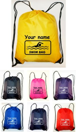 Personalised Swimming Drawstring Bag Sack School SWIM BAG Printed