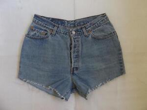 Levi-High-Waisted-Shorts-Size-10-Festival-Vintage-Denim-Blue-Cut-Off