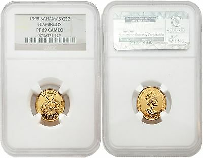 Coins: World Honest Bahamas 1995 Flamingos $2 1/10 Oz Gold Ngc Pf69 Cameo Fast Color