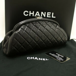 66d5713108f3 m60 CHANEL Lambskin Timeless Clutch Bag Black Quilted Leather Silver ...