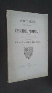 Relazione Delle Lavoro L Montaggio Provinciale Centenario 1789 Dijon 1890