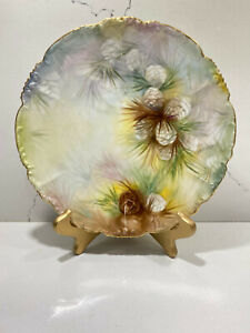 J-P-L-Jean-Pouyat-Limoges-France-Hand-Painted-Signed-Plate-Pine-Cones-9-1-2-034