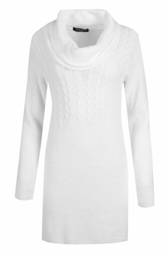 New Ladies Baggy Jumper Top Womens Speckle Knitted Oversize Cowl Neck Mini Dress