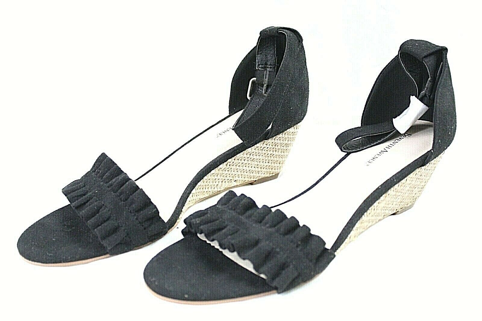 SEVENTH AVENUE womens 2 in WEDGE heels shoes size 9 M black faux leather NEW