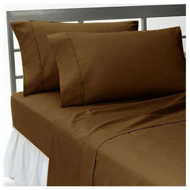 1000 TC Egyptian Cotton Home Bedding Collection Select Size Chocolate Solid