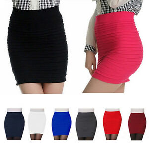 AU-Women-Seamless-Stretch-Tight-Sexy-Bodycon-Mini-Skirt-Short-Pencil-Dress-HOT