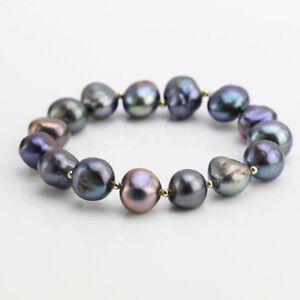 Barocke-Perle-Armband-11-12mm-schwarz-Suesswasser-perle-Stretch-Armband