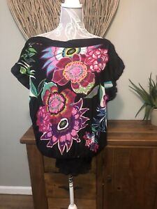 Desigual-Damas-Talla-XS-sobredimensionada-Black-Floral-Top-Verano-6-8-10