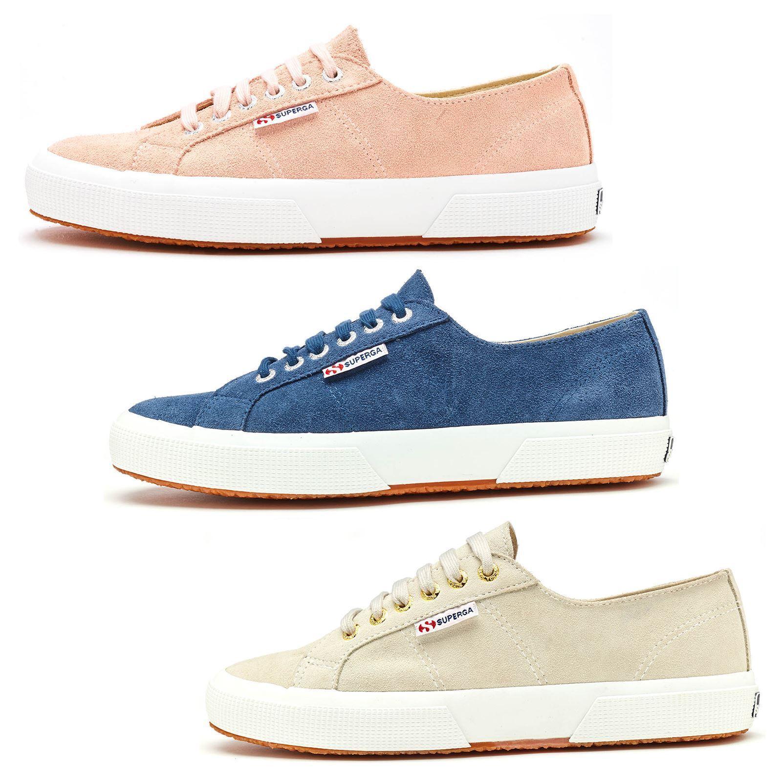 Superga 2750 Sueu Suede Trainers in bluee Shadow, White Cream & Pink Skin