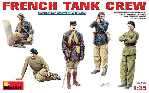MiniArt 1//35 35105 WWII French Tank Crew Tankman 5 Figures in Box