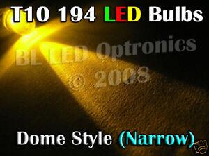 2x Super Bright T10 194 Dome Wedge LED Car Bulb Amber