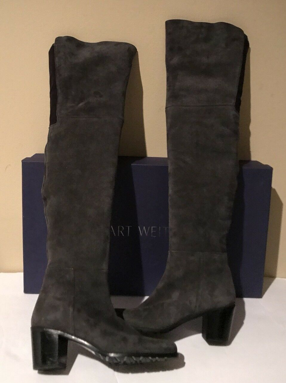 9d93214d592 Stuart Weitzman Hitest Over The Knee Stretch Suede Slate Gray 5050 Thigh 7 for  sale online