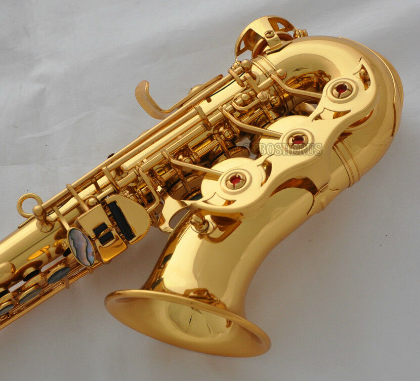Professional Gold TaiShan Curved Soprano Sax Bb Saxophon Abalone Key with Case