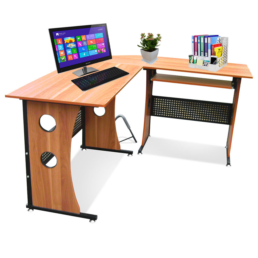 Home furniture l shape corner computer desk w keyboard shelf workstation table - Corner desks with shelves ...