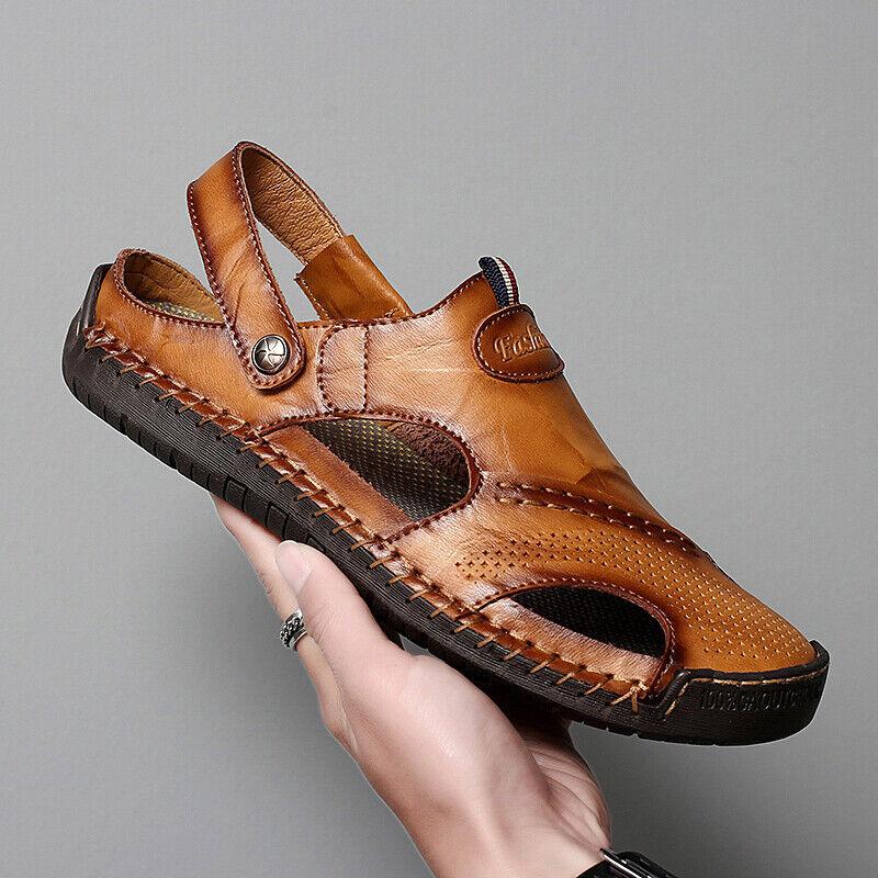 Fringant Homme En Plein Air Sandales Randonnée Camping Sandales En Cuir Véritable Fisherman Shoes 38-48 La Qualité D'Abord