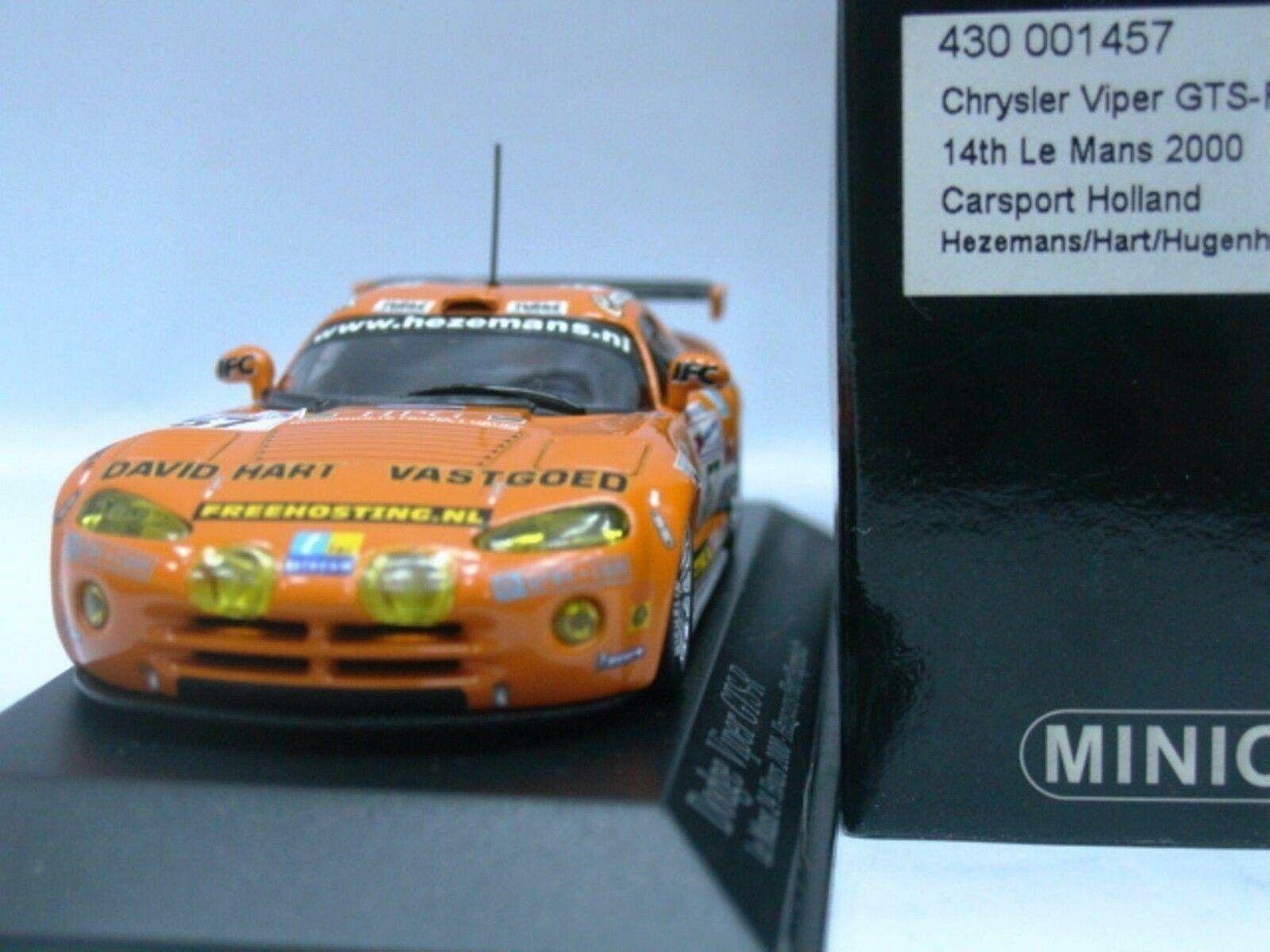 Wow extrêmement rare CHRYSLER VIPER 2000 GTS-R  57 Hart 24 Le Mans 1 43 Minichamps