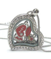 Origami-style Valentine Love Heart Lips Floating Charm Heart Locket 24 Necklace