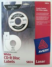 Avery 5824 White Laser Cd R Disc Labels 13 Sheets 26 Labels 4 12