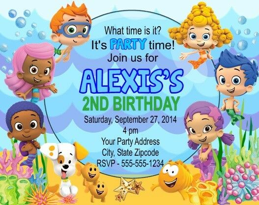 Bubble Guppies Birthday Party Invitations Personalized Custom For Online Ebay