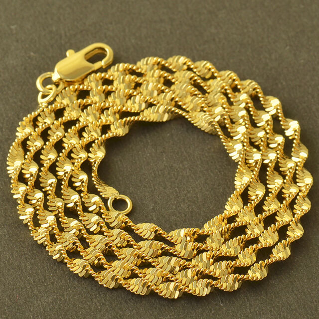 Classic 9K Yellow Solid Gold Filled Water Wave Chain Necklace,20 Inch,Z4965