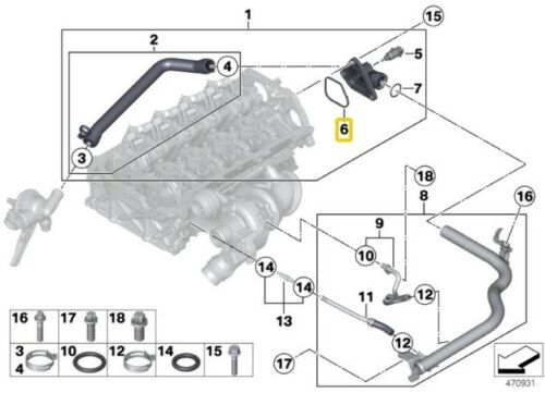 Bmw 1 Series F20 F21 F30 F31 Engine Cooling Pipe Profile Gasket 11537603223